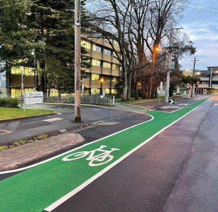 Green OmniGrip CST Bike Lane on Wellington Street, Kew