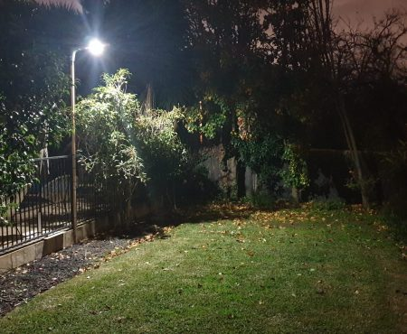 Vivacity Solar Safety Light used to light a garden space
