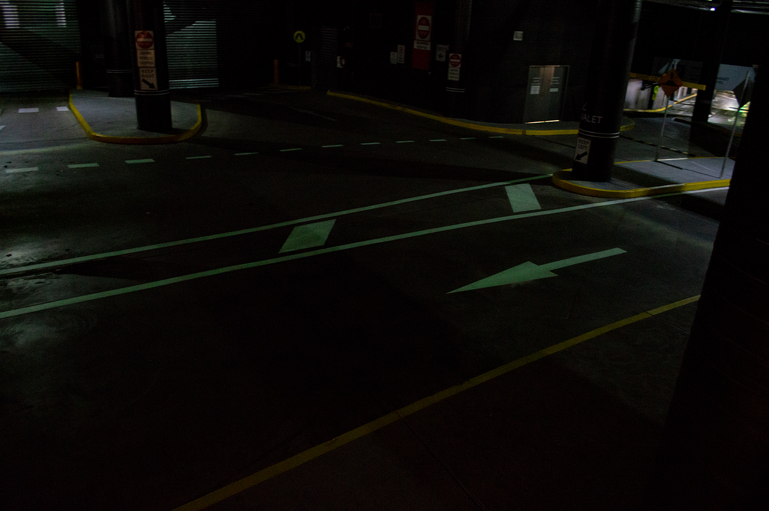OmniGrip PL photoluminescent linemarking and pavement marking in car park