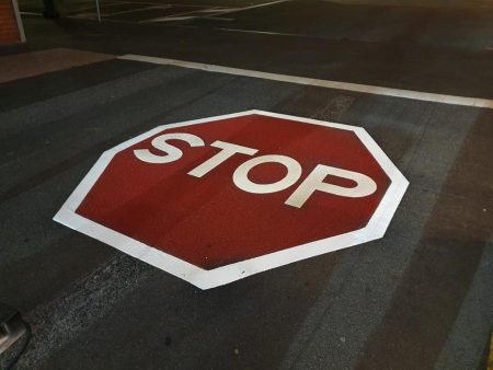 STOP sign pavement marking using OmniGrip CST