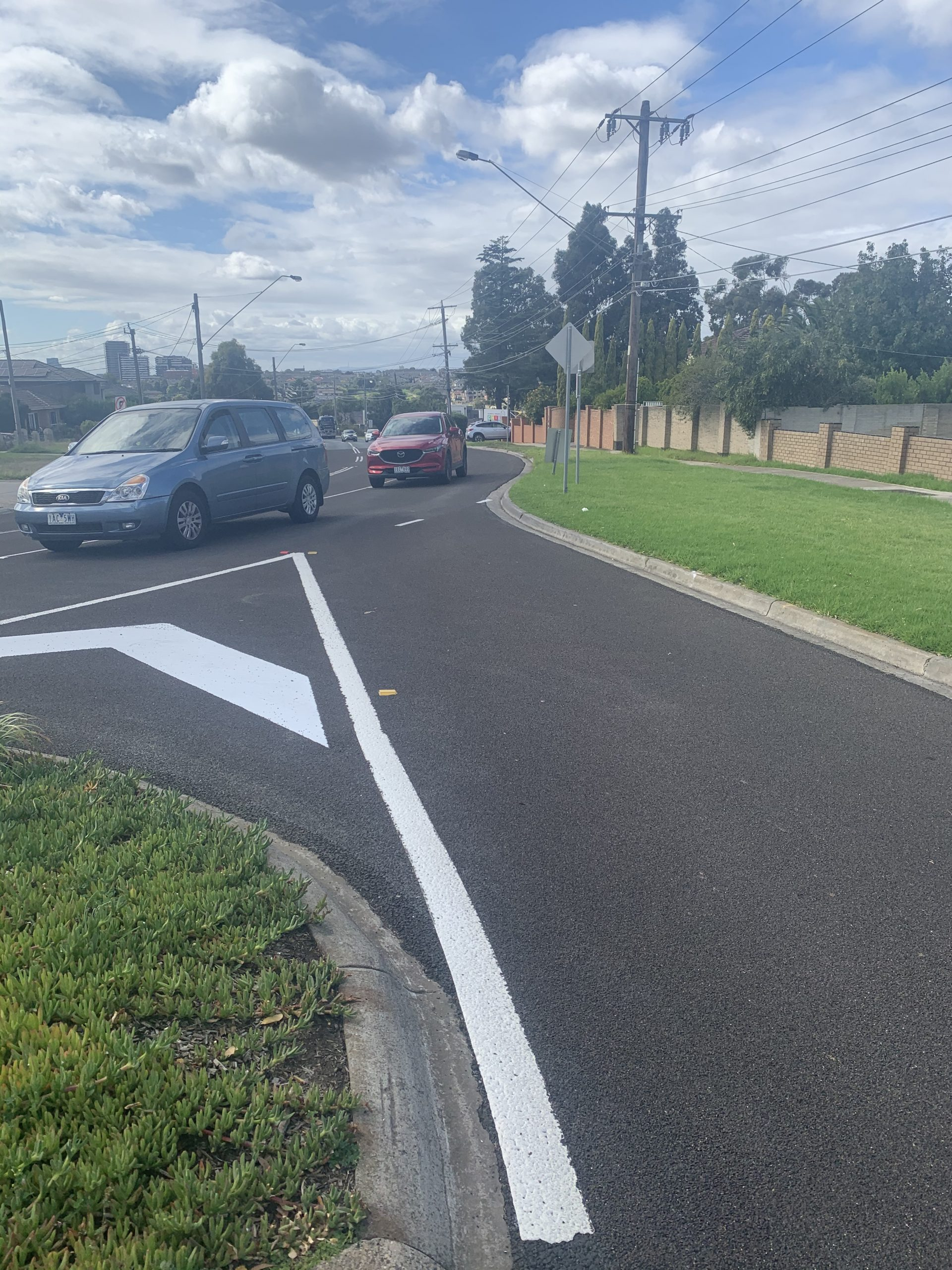 High friction surface treatment on road intersection