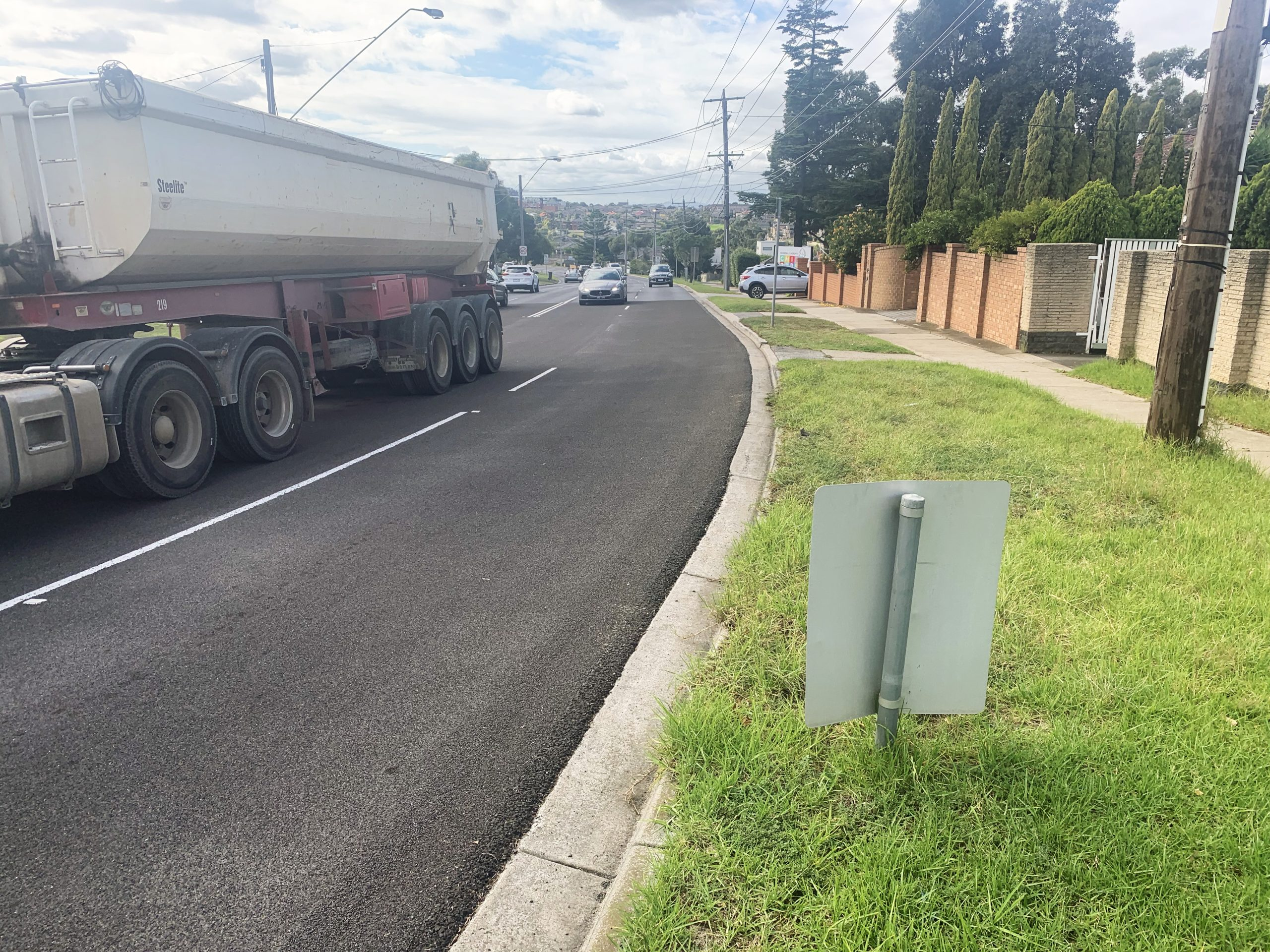 High friction surface treatment on urban road bend
