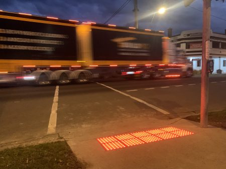 Vivacity LED Safety Tactile at a Princes Highway pedestrian crossing in Trafalgar, Victoria